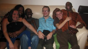 Group of Krip Friends: Robin, me, Keith, Ryan and Leroy in a loving pile on a couch